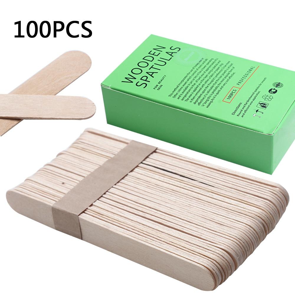 100Pcs BigSize Wooden Waxing Wax Spatula Tongue Mask Sticks Disposable Bamboo Sticks Tattoo Wax Medi