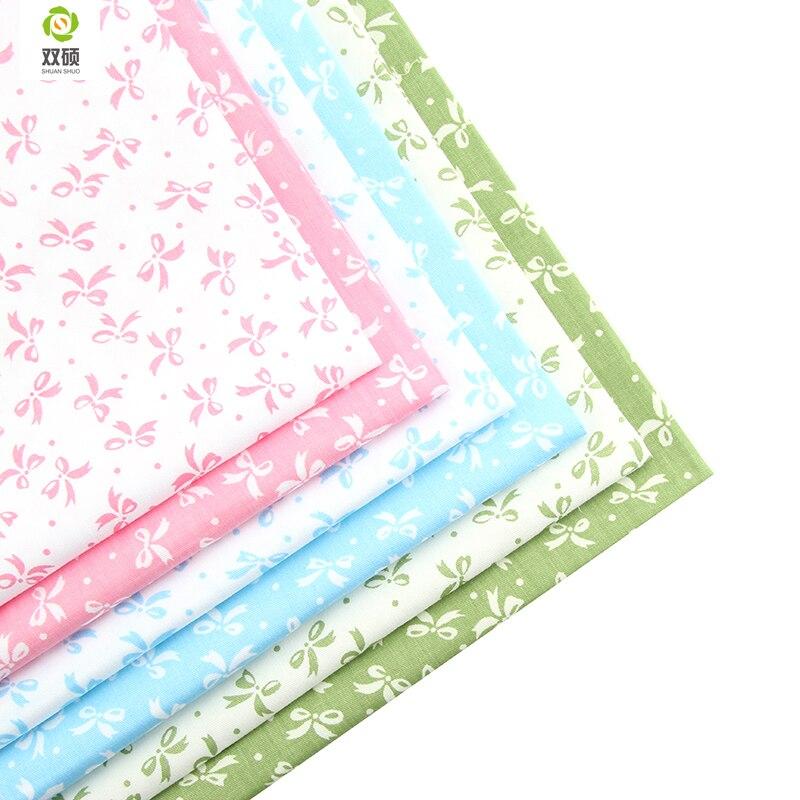 Nova 6 pcs Bow-knot Floral Patchwork Tecido de Algodão Fat Quarter Bundles Needlework Costura Retalhos de Tecido Para O Saco Do Bebê roupas