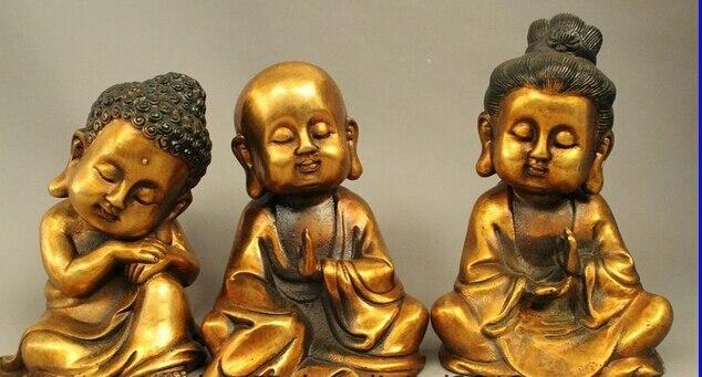 "Shitou 002942 8 ""bronce dorado del Tíbet chico West 3 Dios Kwan-yin GuanYin estatua del Buda Shakyamuni"