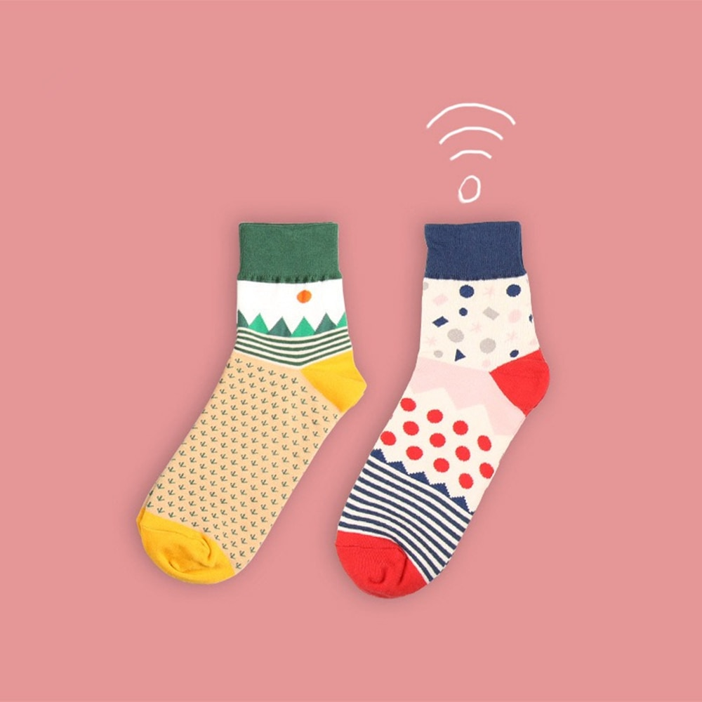 Women's cotton crew socks Korea fresh creative cute illustration cartoon hit color socks stitching fun happy wild tide socks