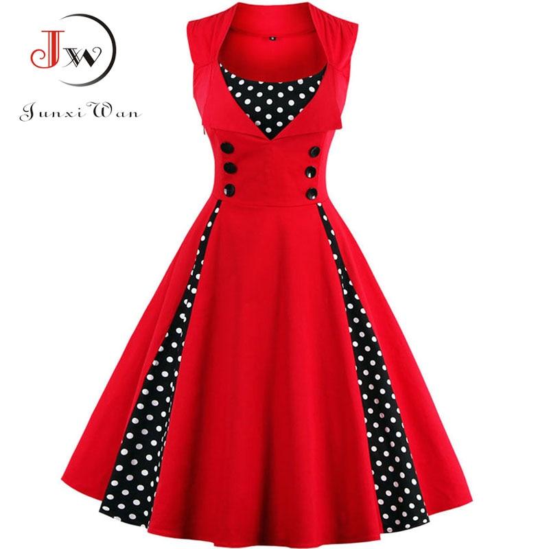 S-4XL Women Robe Retro Vintage Dress 50s 60s Rockabilly Dot Swing Pin Up Summer Party Dresses Elegan