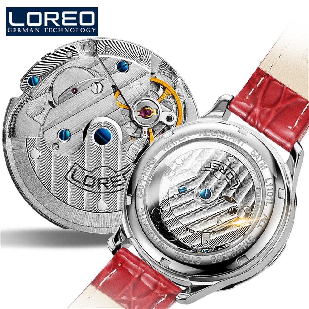 LOREO Luxury Women Watch Brand Sapphire Crystal Fashion Watches Ladies Women Automatic Mechanical Watches Relogio Feminino enlarge