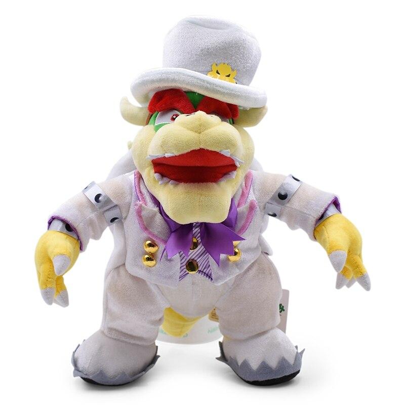 36 cm Grande Pé Bowser Brinquedos De Pelúcia Macia Anime Super Mario Koopa Vestir um Uniforme Branco Peluche Stuffed Dolls Para crianças Brinquedo