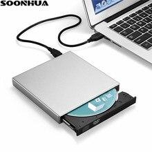 SOONHUA USB 2.0 Portable Ultra Slim External Slot-in DVD-RW CD-RW CD DVD ROM Player Drive Writer Rewriter Burner for PC Windows