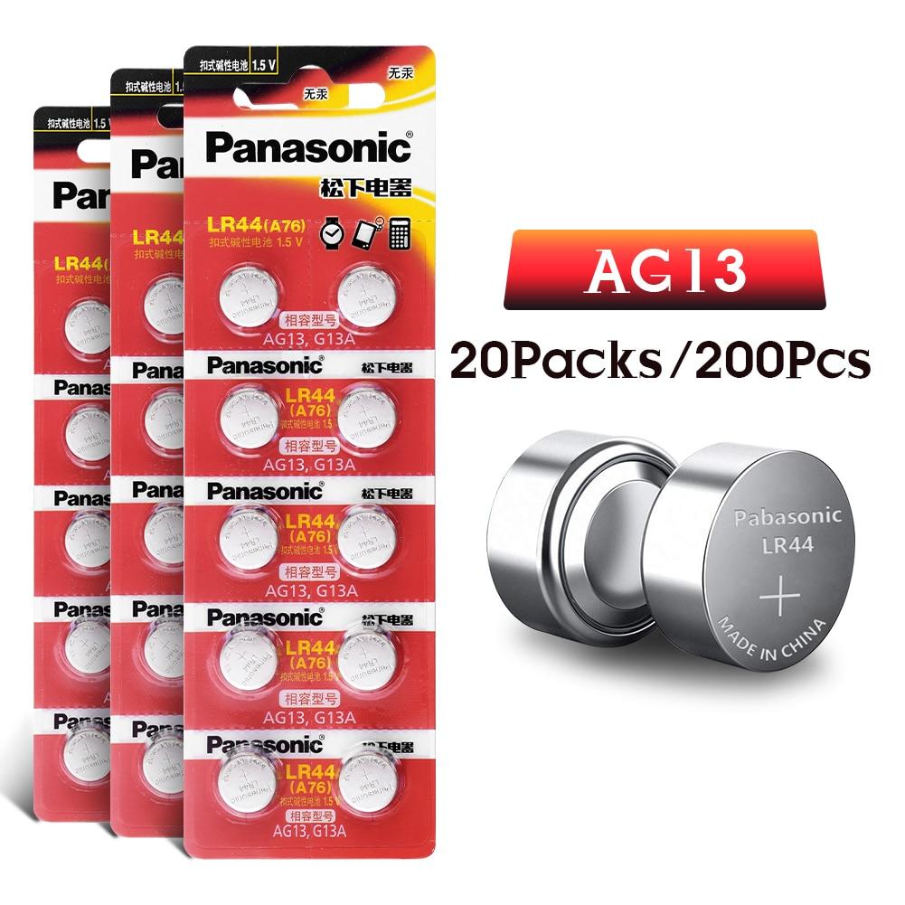 AG13 batería G13A 357 LR44, pila de botón alcalina de 1,5 V para reloj de juguete 303 357 1128MP 1130SO 1166A 280-08 303-1 A A76 200 Uds.