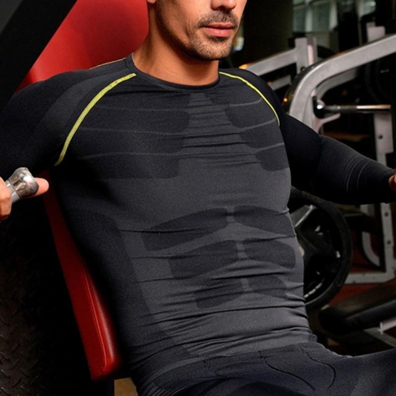 Hombres Fitness transpirable compresión capa Base de manga larga deportes camisas de engranaje gimnasio deportes camiseta Tops M-XL k5