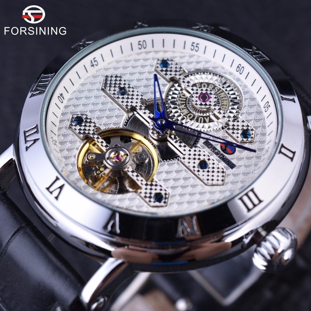 Forsining 2016 Classic Fashion Tourbillion Designer White Silver Dial Blue Hand Clock Men Watch Top Brand Luxury Automatic Watch