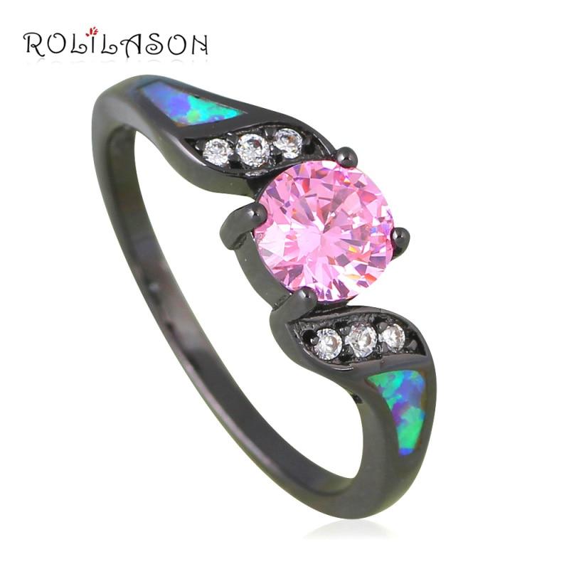 Anillos baratos y alegres a la moda de circonia cúbica rosa con ópalo de Fuego Negro dorado anillo de joyería de moda USA Sz #7 #8 #9 #10 OR838