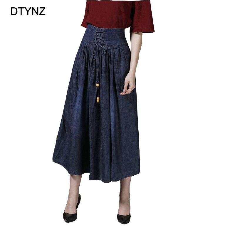 Dtynz calças de brim casuais saia feminina saias denim grande vestido de baile saia verão primavera inverno plus size meninas vintage rendas-up saias