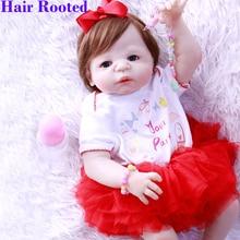 "NPK 22"" Girl Doll Reborn full Silicone Vinyl Kids play house toys bebe gift boneca reborn silicone reborn baby dolls"