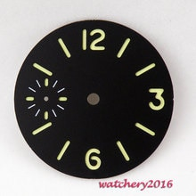 New 36.3mm black sterile luminous dial fit 6497 Movement Men's Watch dial