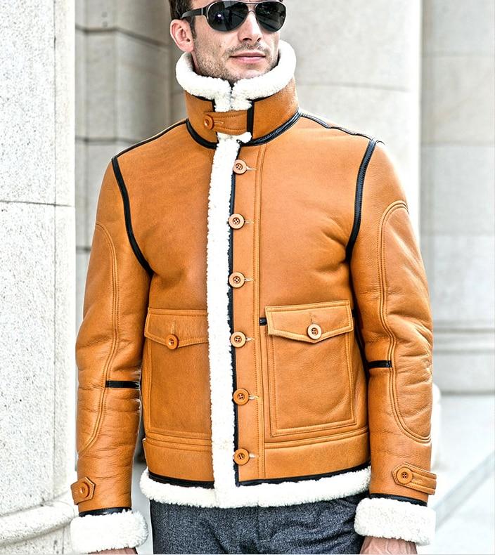 Luxury Men's New Winter Fashion 100% Natural Real Sheepskin Genuine Leather Coat Wool Fur Lined Golden Orange XXXXL 2XL 3XL 4XL