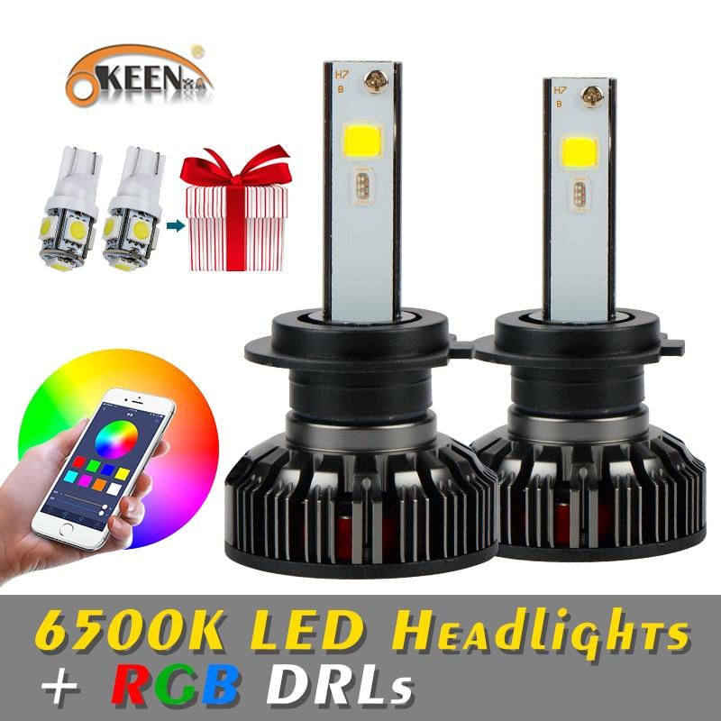 OKEEN RGB H4 H7 LED żarówki reflektorów samochodowych aplikacji sterowanie bluetooth H1 H3 H8 H11 HB3 HB4 COB reflektor samochodowy przeciwmgielne światło 12V 40W 6000LM