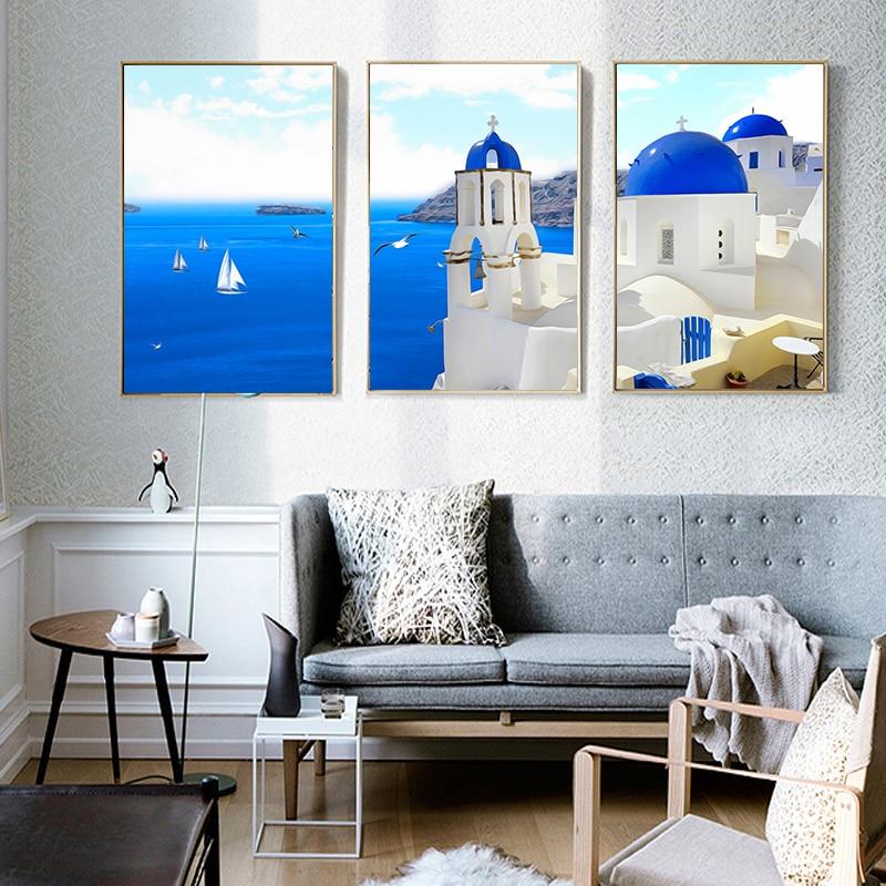 Vista Para o Mar Egeu Grécia Santorini Retrato da Arte Da parede Modernos Nórdicos Pintura Da Lona De Impressão Sala de estar Poster Home Decor Fundo