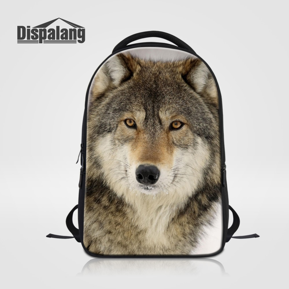 Mochila escolar Dispalang para hombre, bolso de hombro con dibujo de lobo Animal para mujer, bolsas para ordenador portátil de 14 pulgadas, mochilas para Notebook con zorro para Adolescente