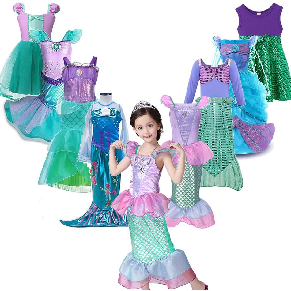 AliExpress - Girls Little Mermaid Ariel Princess Dress Cosplay Costumes For Kids Baby Girl Mermaid Dress Up Sets Children Halloween Clothing