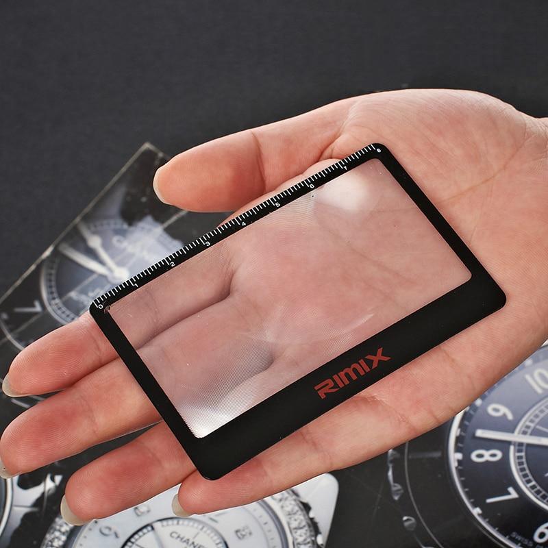 3 en 1 herramientas para exteriores 55*85mm tarjeta lupa bolsillo 3X lupa Fresnel lente Flexible lupa tarjeta + regla + marcador