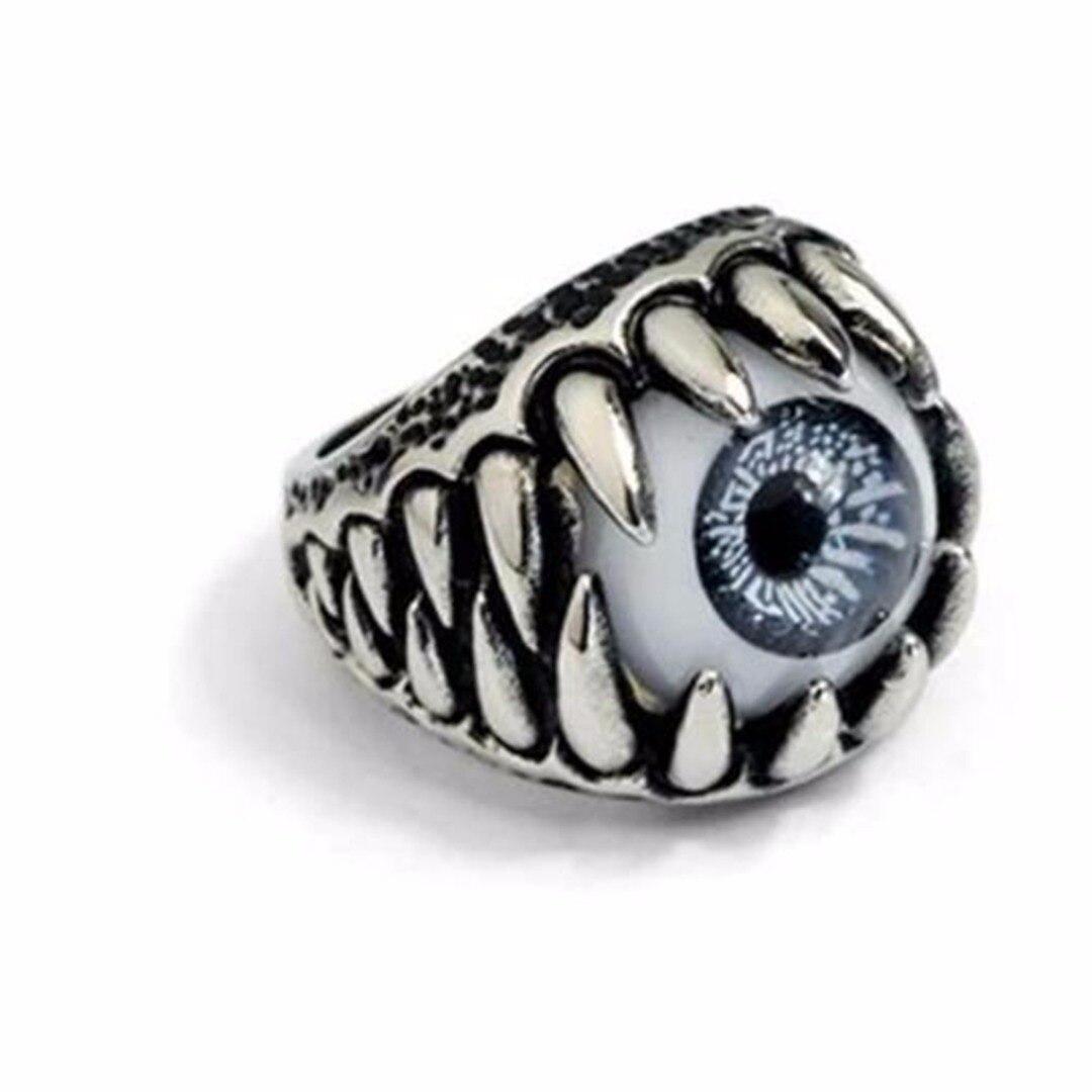 1 Uds diabólico Vintage anillo de ojo de Shellhard hombres Punk ojo anillo de dedo encantador Halloween regalo de fiesta, joyería Tamaño 7-11