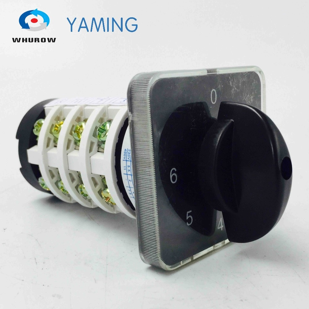 Rotary switch knob 6 posizione 0-6 YMZ12-20/4 universale manuale elettrico di partenza cam interruttore 20A 690V 4 sezione di alta qualità