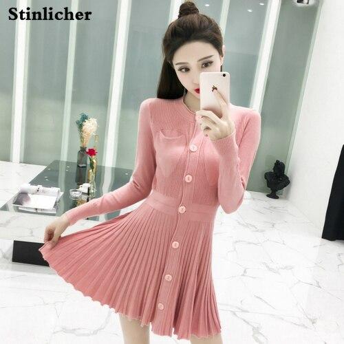 Stinlicher Spring Autumn Elegant Pleated Sweater Dress Women Long Sleeve Elastic Female Single-Breaste Luxury knit Mini Dresses