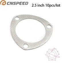 CNSPEED 10pcs/lot 2.5 inch 66mm Exhaust Pipe Gasket To Muffler Gasket Exhaust Gasket three Holes YC100718-25
