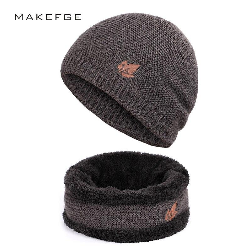 Новый зимний мужской вязаный шарф, шапка и перчатки, теплые бархатные модные брендовые шапки унисекс с кленовыми листьями, облегающие шапки