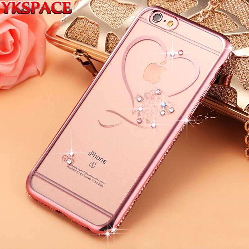 YKSPACE Love Crystal чехол для телефона iPhone 7 Plus 8 Plus 7plus 8plus Мягкий силиконовый чехол из ТПУ со стразами Блестящий Прозрачный чехол