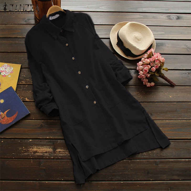 ZANZEA de talla grande de algodón de las mujeres, Blusa de lino, manga larga botones camisa Casual Split Tops Irregular Blusas pantalones Blusa 5XL