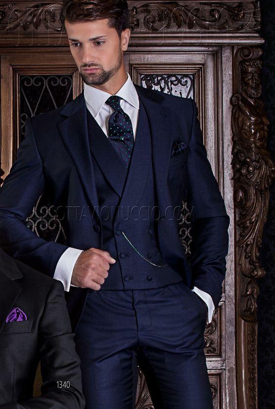2018 Tailored navy Blue Suit Men Tailcoat Slim Fit 3 Piece Tuxedo Custom Groom Blazer Prom Wedding Suits Ternos Jacket+Pant+Vest