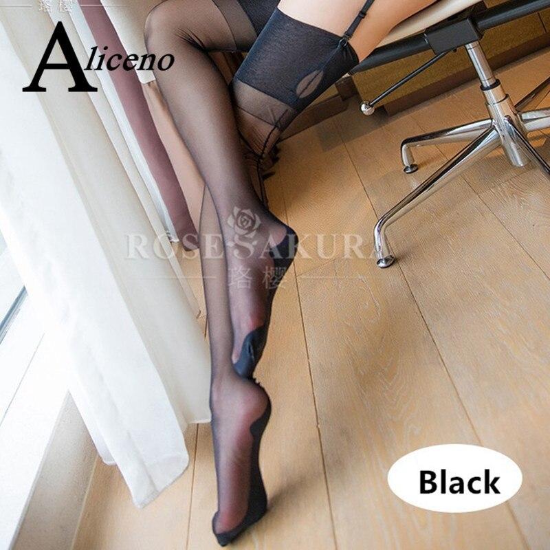Completamente moda, ojo de cerradura para mujeres, seamed Retro, medias negras a rayas con talón trasero, suave transparente, calcetines largos hasta la rodilla 0913