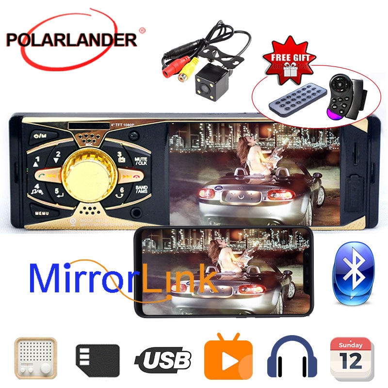 "Radio cassette reproductor de Radio Estéreo MP3 MP4 player 4 ""HD TFT coche 12V de Audio FM/USB/MMC/carpeta jugar/AUX/Bluetooth Autoradio"