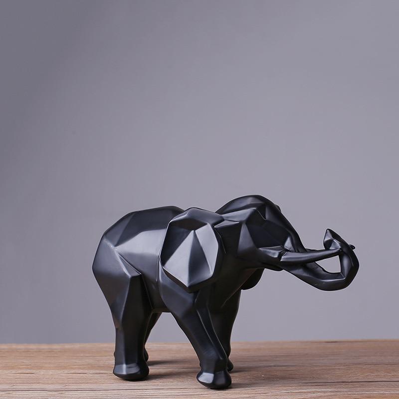 Creative Resin Black Elephant Statue Abstract Geometric Sculpture Desktop Crafts Ornament Home Decoration Animal Figurine 40