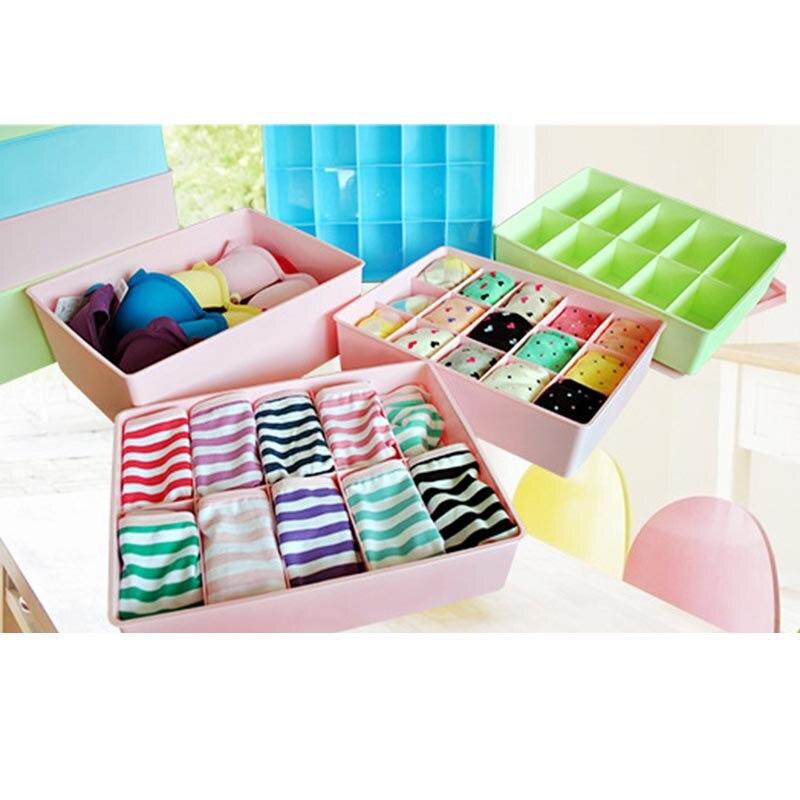 3 unids/set calcetines de ropa interior caja de almacenamiento de plástico contenedor apilable con tapa y ranuras QJS Shop