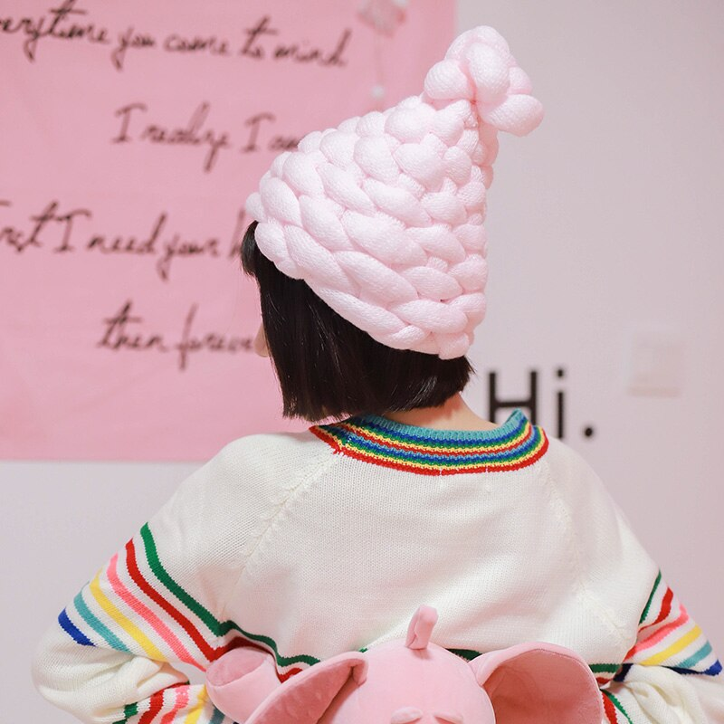 [La maxpa] Kawaii зимняя хлопковая шляпа грубых линий открытый теплую шапку шапочка