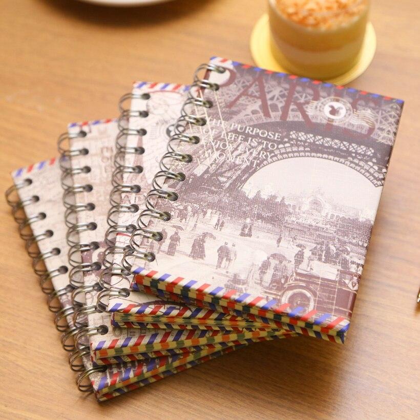 Eólica europea del diario del cuaderno espiral rollover A6 portátil notebook portátil notebook papelería