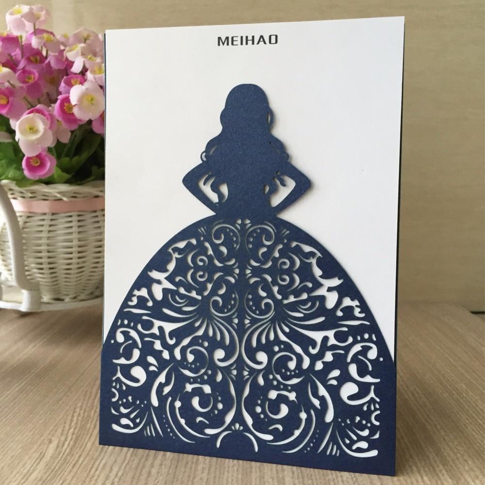 50 pcs Elegante Do Convite Do Casamento de Corte A Laser Brilhante Bar/Bat Mitzvah 15ths Bênção Cartões de Presente de Saudação Cartão Postal de Aniversário Da Menina