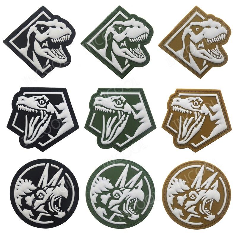 Dinossauro PVC Patch Badges Patches Moral Militar Tático Combate Gancho 3D Rhinoceros Borracha Patches Para Roupas Sacos Mochila
