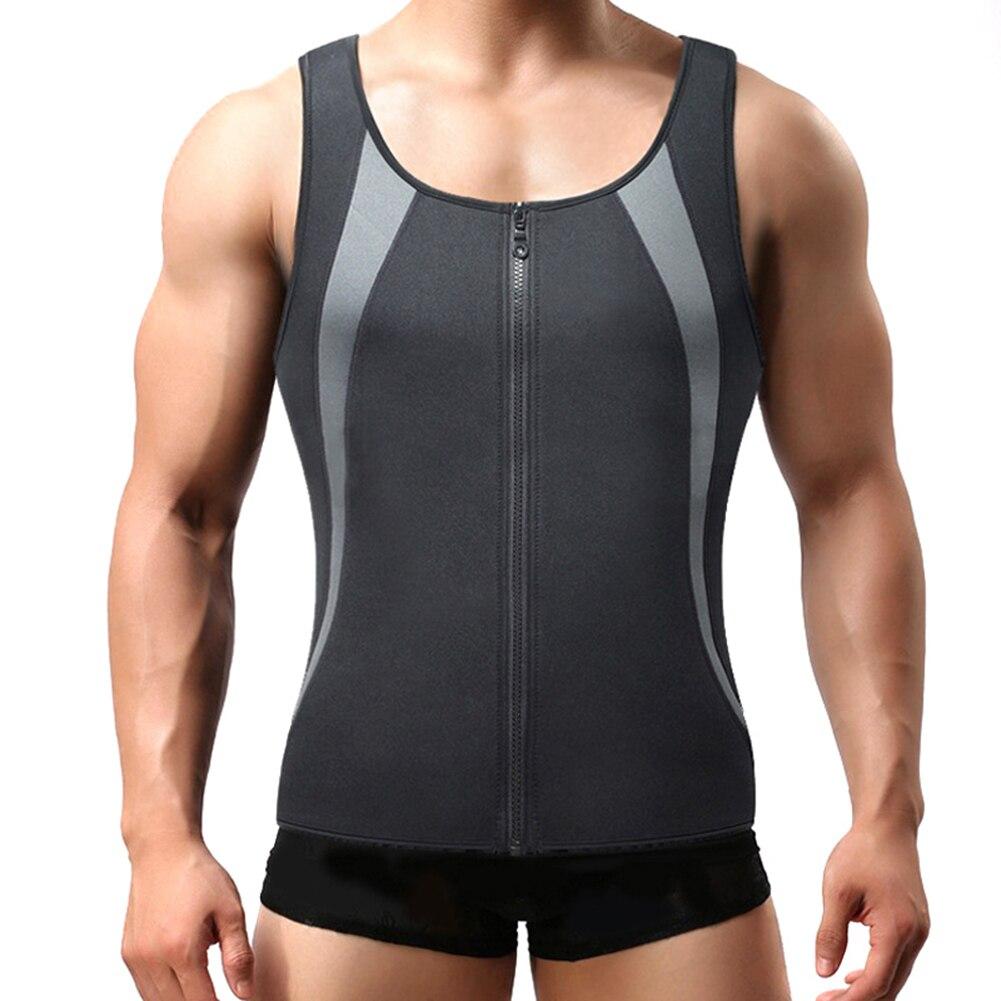 Men sports vest zíper sem mangas corpo moldar rápido seco suor absorção topos hsj88