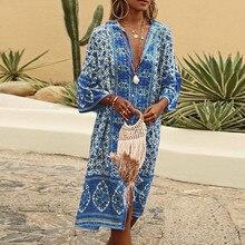 2019 Women Summer Maxi Bohe Flowers Print Button Down Flare Sleeve Loose Dress vestido robe femme party dress vestidos de verano