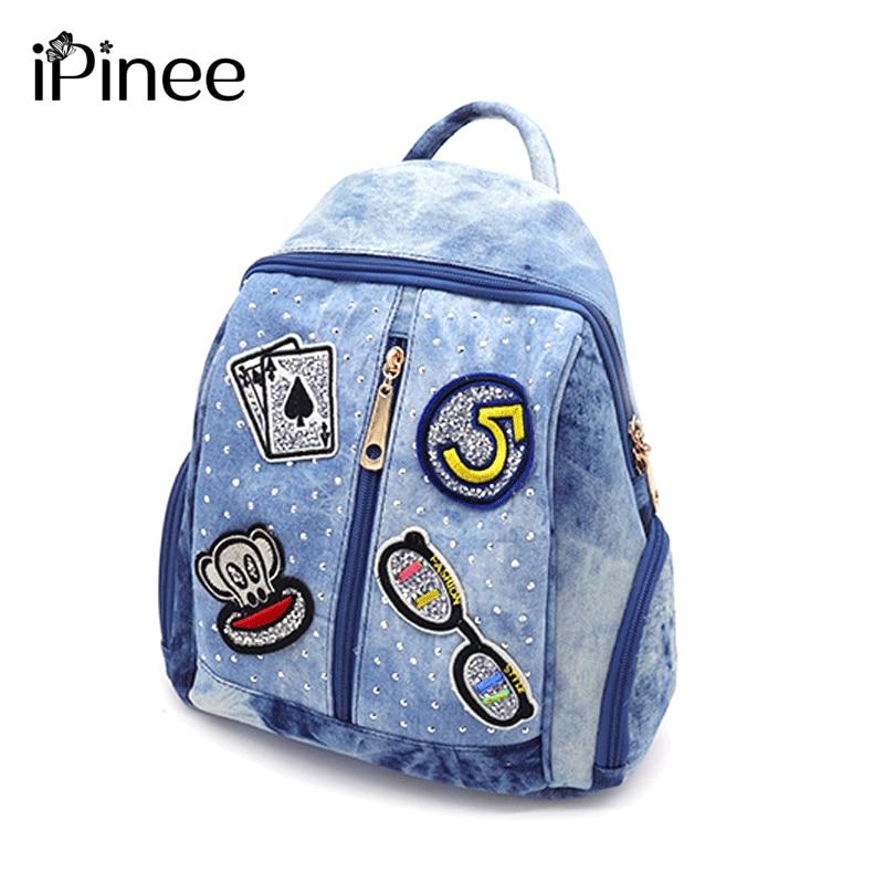 iPinee 2019 Summer Fashion Women Backpack Denim School Bag Cartoon Pattern Schoolbag for teenagers