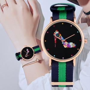 Practical Nylon Strap Coloured High-heeled Shoe Pattern Dial Quartz Analog Wrist Watches Gift for Women