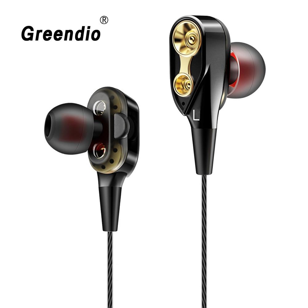 Greendio GR6 auriculares de graves HIFI con bobina móvil dinámica doble con micrófono, reducción de ruido, Control de volumen, auriculares estéreo deportivo