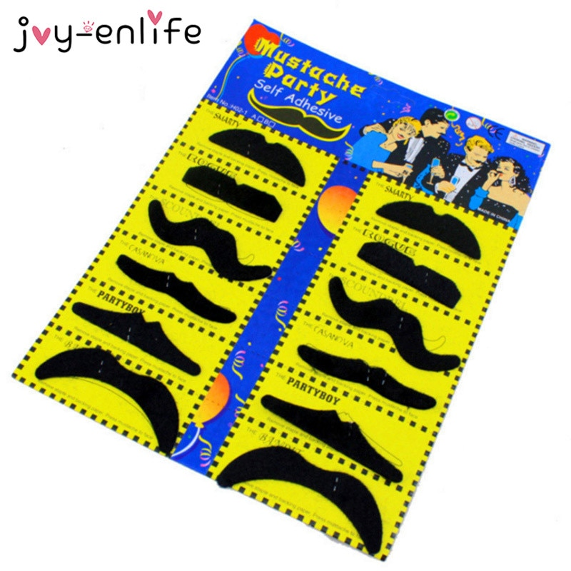 JOY-ENLIFE 12pcs Funny Costume Pirate Party Mustache Cosplay Fake Moustache Beard For Kids Adult Halloween Decoration