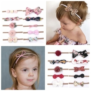 10PCS/LOT 2019 Boutique Baby girls Sequin Bow Nylon Headband DIY printing cloth bowknot Elastic band For Kids Hair Accessories