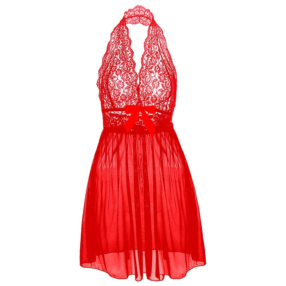 Lencería sexi de mujer, ropa interior de encaje para mujer, vestido de noche rojo, picardías, ropa de dormir con Tanga, ropa de dormir sin lazo ajustado