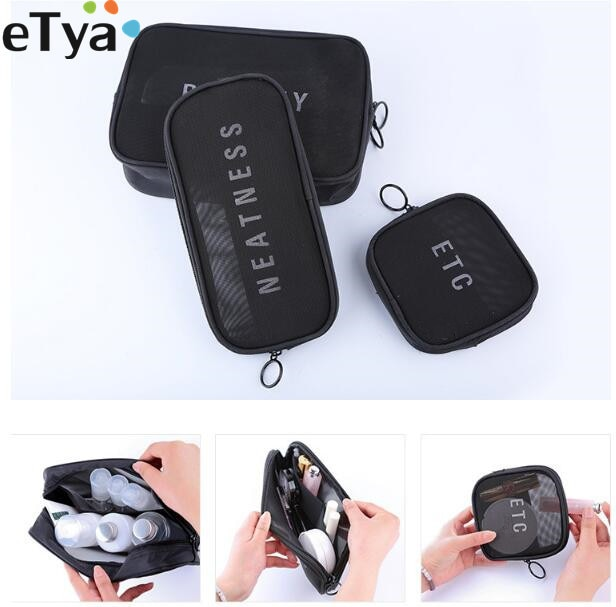 eTya Fashion Women Travel Small Large Cosmetic Bag Set Black  Mesh Makeup Toiletry Bags Wash Organizer Pouch Case