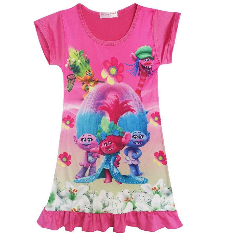 Trolls Kids Dresses for Baby Girls Summer Short Sleeve O Neck Trolls Costumes Children Girls Dress for Princess Clothes