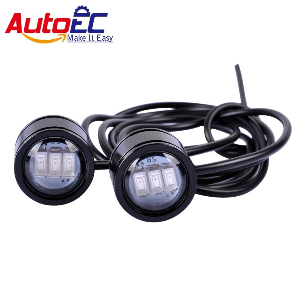 AutoEC 1 pair strobe led 3w 5630 led eagle eye flashing Daytime Running Lights For Motorcycle Spotlight DC12V #LQ926