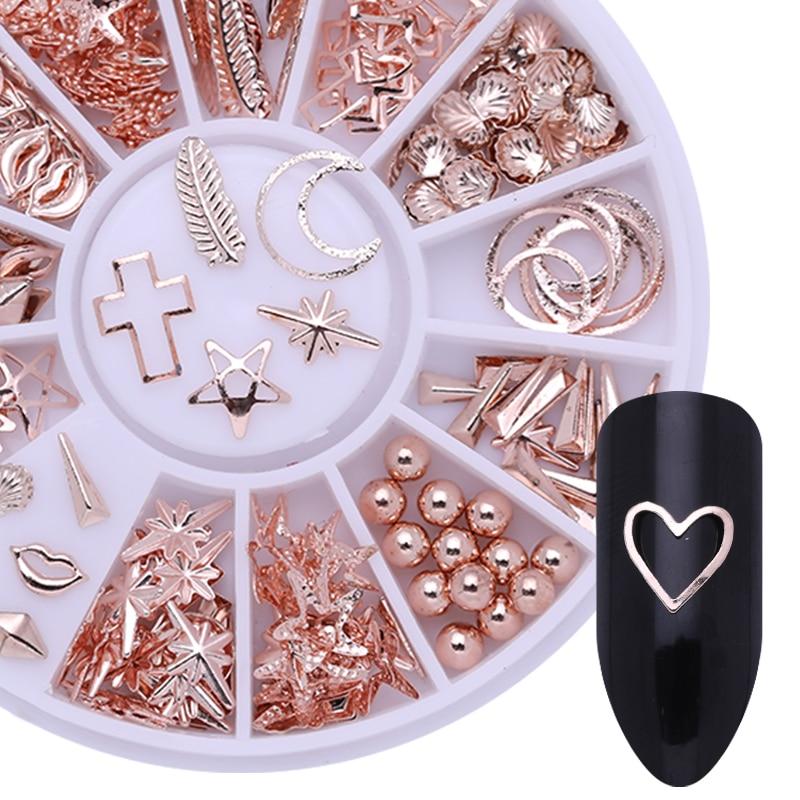 Estrella de mar de oro rosa decoración de uñas DIY en carcasa con diseño de rueda geometría Pentangle hoja 3D Decoración Accesorios clavos