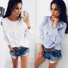 New 2018 Hot Summer women Shirts Blouse Fashion Womens Ladies Long Sleeve Frill Ruffle Collar Tops Blouse Shirt S M L XL